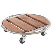 Pot Stand on Wheels in Wood and Metal - D.35 cm